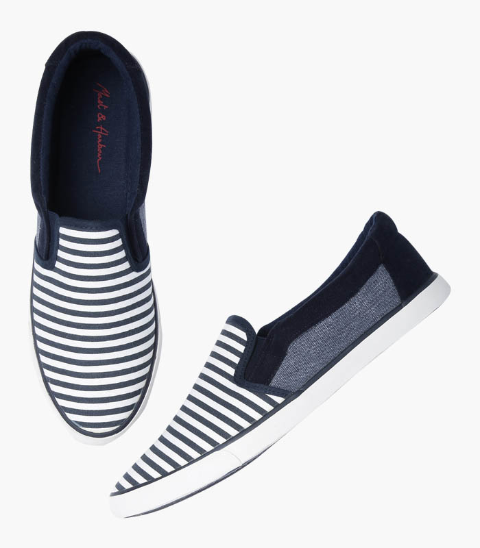 Men Navy & White Striped Shoes